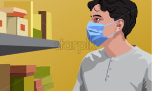 Man in white t-shirt wearing surgical mask looking at shelves with groceries. Yellow background. Vector - Starpik Stock
