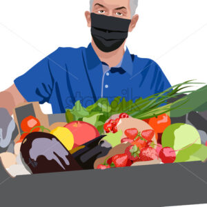 Man wearing blue t-shirt, surgical mask and gloves holding a crate filled with strawberries, tomatoes, cherries, green onions, pomegranate, radish and lettuce. Home delivery of groceries. Vector - Starpik Stock