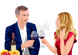 Mature couple clinking glasses of wine at a date. Man wearing suit and woman with blonde hair in red dress. Smiling and enjoying time together. Vector - Starpik Stock