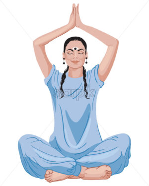 Mature oriental woman sitting in lotus position with hands up. Blue outfit and dark hair. Vector - Starpik Stock