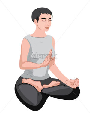 Mature woman sitting in lotus position and meditating with closed eyes. Gray and black clothes Vector - Starpik Stock