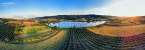 Nature with lake and hills in Moldova near Balanesti village - Starpik Stock