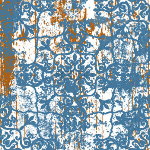 Old beat up damask design. Classical royal texture. Luxury ornament. Vector - Starpik Stock