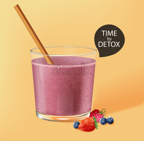 Old fashioned glass with bamboo straw. Berry smoothie with strawberry and blueberry decoration. Time to detox. Vector - Starpik Stock