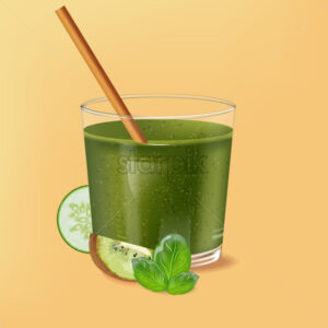 Old fashioned glass with bamboo straw. Spinach green smoothie with kiwi, cucumber and lime decoration. Vector - Starpik Stock
