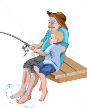 Old grandfather fishing with his grandson while sitting on wood pier. Catching a fish. Vector - Starpik Stock