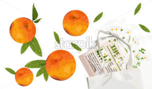 Orange fruits with leaves and ecology bag. Reusable eco friendly products advertising. Vector - Starpik Stock