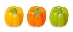 Realistic and colorful yellow, orange and green pepper. Vector - Starpik Stock
