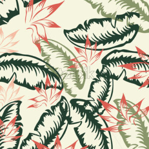 Red, green and dark green palm leaf pattern. Vintage design. Vector - Starpik Stock