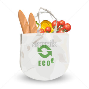 Reusable fabric eco friendly bag with groceries inside. Bread, tomatoes and pumpkin. Vector - Starpik Stock