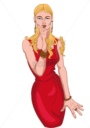 Seductive blonde woman in red dress and jewelry ogling. Blue eyes. Vector - Starpik Stock
