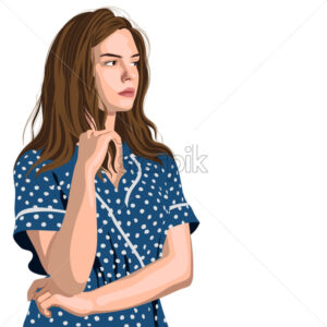Serious young girl in blue polka dot dress thinking about something. Looking on side. Vector - Starpik Stock