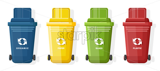 Set of Blue, yellow, green and red trash can with lid and ecology sign. Vector - Starpik Stock