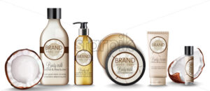Set of Coconut body care products with creams, shampoo bottles, milk, mask and lip balm. Vector - Starpik Stock