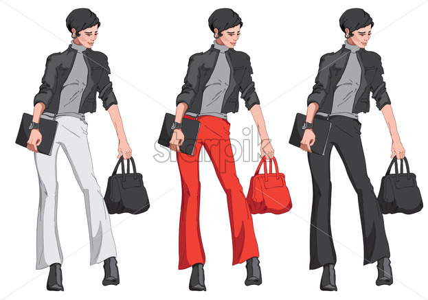 Set of black haired woman in jacket, pants, sweater, boots, with a handbag and a notepad in her hand. Modern elegant and stylish business outfit. Different color combinations. Vector - Starpik Stock