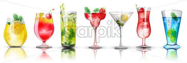 Set of colorful cocktails. Bright colors. Citrus and berries toppings. Vector - Starpik Stock