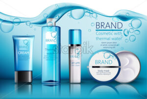 Set of cosmetic with place for text. Thermal water, serum, cream, body mask. Product placement. Water with bubbles on background. Realistic vector - Starpik Stock