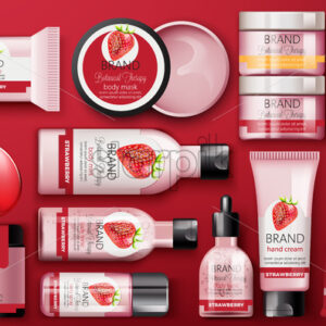 Set of cosmetic with strawberry with place for text on red background. Body milk, hand cream, shower gel, perfume, soap, mask and spray. Botanical therapy. Vector - Starpik Stock