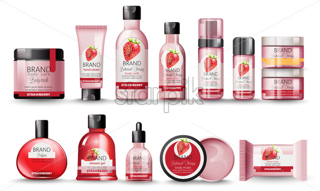 Set of cosmetic with strawberry. Body milk, hand cream, shower gel, perfume, soap, mask and spray. Place for text. Botanical therapy. Vector - Starpik Stock