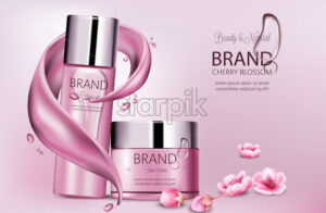 Set of cosmetics with essence and face cream. Product placement. Cherry blossom. Splash waves and drops. Place for brand. Realistic vector - Starpik Stock
