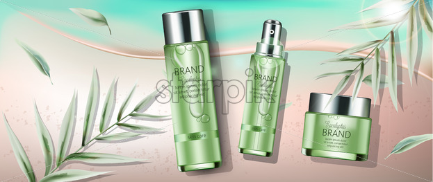 Set of cosmetics with eucalyptus extract. Spray, cream, body milk. Place for text. Beach and seashore background. Realistic. Vector realistic - Starpik Stock