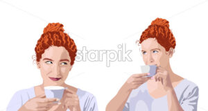 Set of curly ginger woman in white t-shirt drinking from a cup and smiling. Hair bun. Vector - Starpik Stock