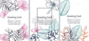 Set of greeting cards with place for text. Colorful flowers and leaves in line art. Vector - Starpik Stock