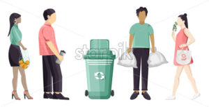 Set of people using eco friendly reusable bags and trash can. Colorful clothes. Vector - Starpik Stock