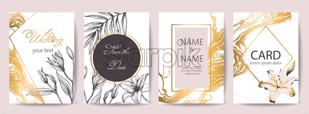 Set of wedding celebration cards with place for text. Save the date. Tropical flowers decoration. Golden, white and black colors. Vector - Starpik Stock