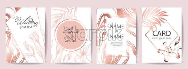 Set of wedding celebration cards with place for text. Save the date. Tropical flowers. White and rose gold colors. Vector - Starpik Stock