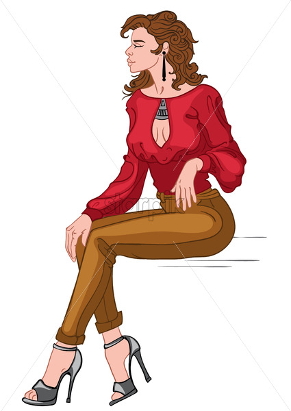 Sexy brunette in red blouse, brown pants and gray high heels posing while sitting. Vector - Starpik Stock