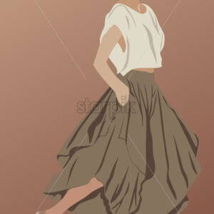 Short haired glamorous brunette dressed in brown long skirt, shoes, sunglasses and white t-shirt. Showing her style. Vector - Starpik Stock