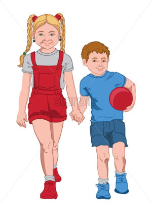 Smiling blonde girl in gray t-shirt, red overall and sneakers holding hands with a joyful boy in blue t-shirt, shorts and sneakers holding a ball. Sister and brother in colorful outfit. Vector - Starpik Stock