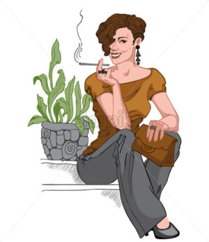 Smiling short haired brunette dressed in black pants, earrings and pants, brown purse and blouse sitting on staircase and smoking a cigarette. Vector - Starpik Stock