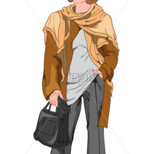 Smiling woman in black pants, white t-shirt, brown jacket and scarf with a black handbag. Elegant and stylish outfit. Vector - Starpik Stock