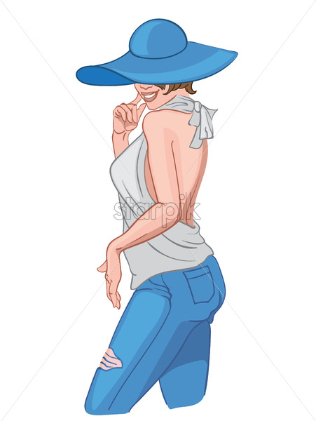 Smiling woman in blue jeans and white blouse hiding her face with a hat. Elegant and stylish body position. Vector - Starpik Stock