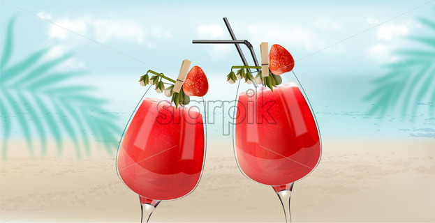 Strawberry cocktails clinking with beach, sea and palm leaves on background. Breeze atmosphere. Vector - Starpik Stock