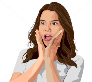 Stunned young brunette in white t-shirt. Surprised facial expression. Vector - Starpik Stock