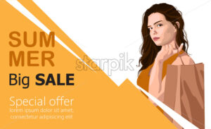 Summer big sale banner with a young girl holding on her back a paper shopping bag. Vector - Starpik Stock