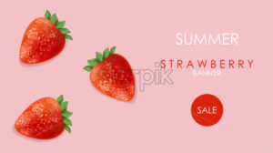 Summer sale banner with strawberry fruits and rose background. Vector - Starpik Stock