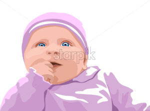 Surprised baby with blue eyes dressed in pink clothes. Holding finger in mouth. Vector - Starpik Stock