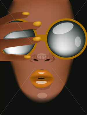 Tanned woman with yellow sunglasses, lips and nails looking covering herself with hand. Vector - Starpik Stock
