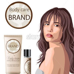 Tender woman with bangs advertising coconut body care products cream and lip balm. Place for text. Vector - Starpik Stock