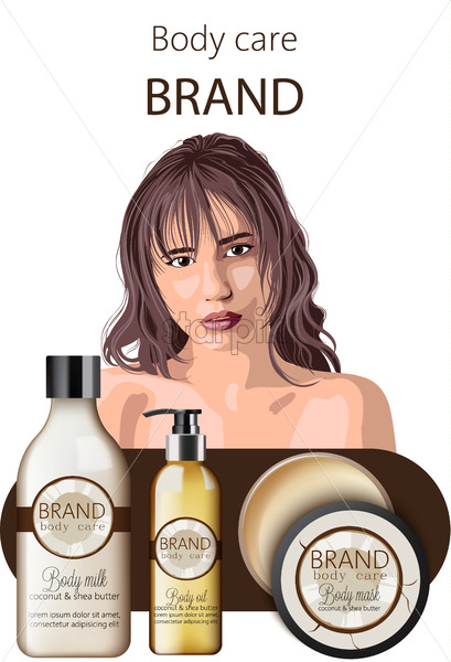 Tender woman with bangs advertising coconut body care products oil, milk and mask. Place for text. Vector - Starpik Stock