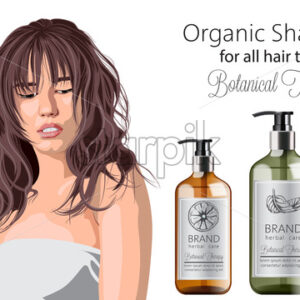 Tender woman with bangs advertising organic shampoo with herbal care. Various plants and colors. Mint, orange and lavender. Place for text. Vector - Starpik Stock