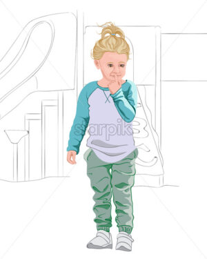 Thoughtful blonde kid in light blue and white t-shirt, pastel green pants and white sneakers. Thinking about a plan. Vector - Starpik Stock