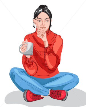 Thoughtful young girl in colorful red sweater and blue pants drinking from a cup. Dark hair. Vector - Starpik Stock