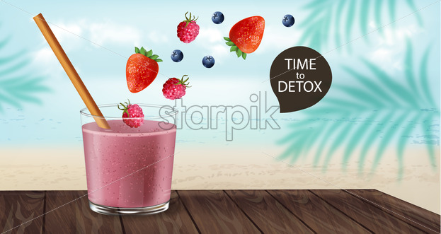 Time to detox banner with old fashioned glass and bamboo straw. Berry smoothie with strawberry and blueberry decoration flying. Beach and palm leaves on background. Vector - Starpik Stock