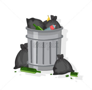 Trash can filled with garbage bags, glasses of wine, plastic bottles and banana peels. Vector - Starpik Stock