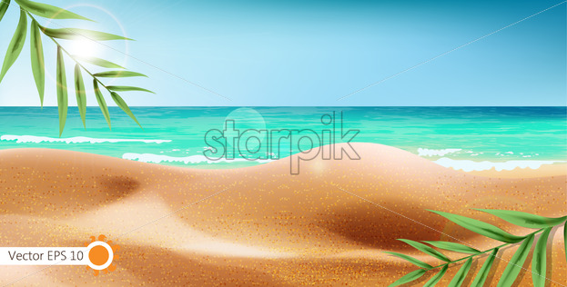 Tropical sea shore and exotic leaves background. Summer beach with sun flare. Vector realistic - Starpik Stock